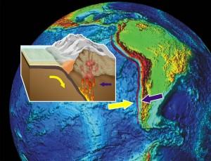 Andien synty. Tyynenmeren laatta työntyy Etelä-Amerikan mannerlaatan alle. Kuva Hari Kutvonen, GTK.