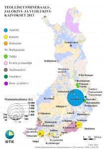 Malminlouhinta Suomen teollisuusmineraalikaivoksissa 2013.