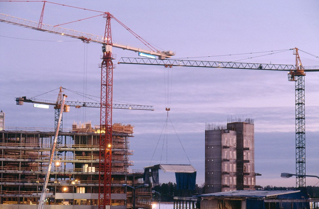 Rakennustyömaa Espoossa