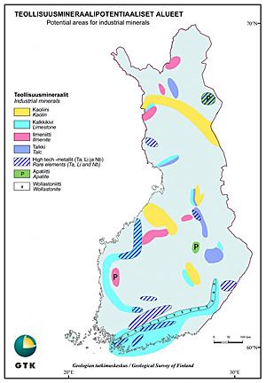Teollisuusmineraalipotentiaaliset alueet