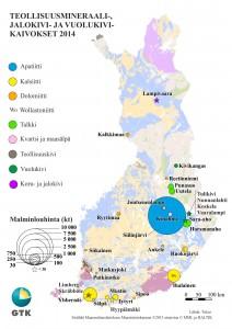 Malminlouhinta Suomen teollisuusmineraali-kaivoksissa 2014.