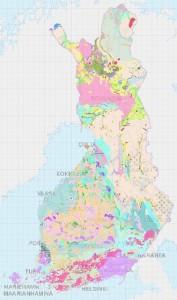 Suomen kallioperän yksiköihin voi tutustua Geologian tutkimuskeskuksen Maankamara-palvelussa (klikkaa kuvaa).